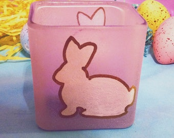Hand Painted Bunny Square Candle Holder