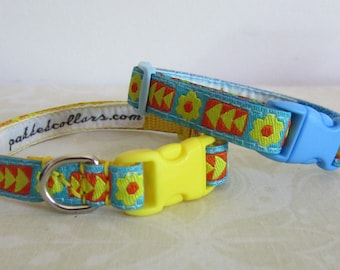 Tri-Flower Brocade Dog Collars - small dogs / puppies / teacup or tiny dogs