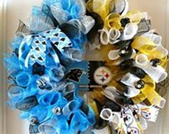 Carolina Panthers / Pittsburgh Steelers House Divided NFL Wreath