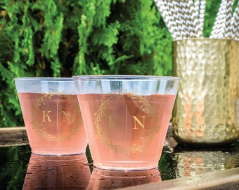 Monogram Plastic Party Cups, Personalized Hard Plastic Cups, Personalized Wine Glasses, Bridal Shower, Anniversary Party, Baby Shower Cups
