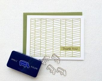 Herringbone Thank You Card (Gocco printed)