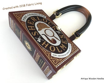 Sherlock Holmes Book Purse with 221B Wallpaper Fabric Accents - Sherlock Book Cover Handbag - Sherlock Pocket Book Clutch