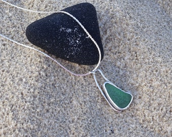 Sea glass pendant, green sea glass, bezel set sea glass, sea glass jewellery, sea glass, handmade jewellery, sea glass necklace, beach glass