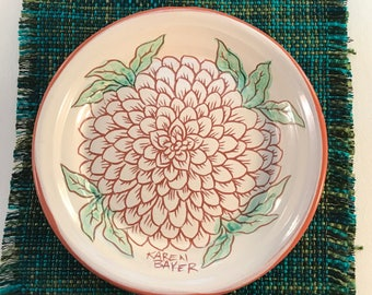 Pottery Statement plate - chrysanthemum - summer flowers - dessert plate - one of a kind ceramics