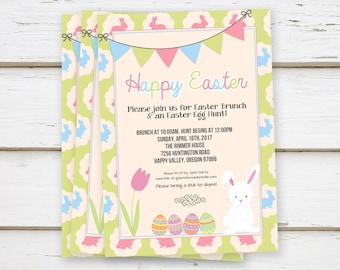 PRINTED Easter Brunch Invitation, Easter Egg Hunt, Hippity Hop, Bunny, Eggs, Spring, Tulip, Cute, Kids, Potluck, Pastel, Dinner, MB093