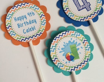 12 waterslide/pool Birthday Party Cupcake Toppers -pool party,waterslide, boy Birthday Party Decorations