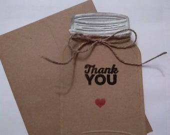 Kraft Mason Jar Thank You Notes   10 pcs.