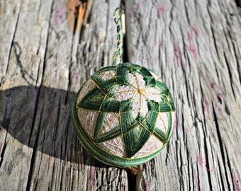 Pine Green Christmas Temari, Traditional Japanese Folk Craft Temari Ball, Japanese Temari Ball Woven Design Christmas Bauble Fiber Ornament