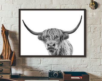 Highland Cow Print, Poster, Printable art, Gift idea, Wall art, Nature Photography,