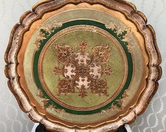 Lovely Vintage Florentine Italian Scalloped Tray