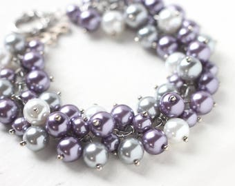 Light Purple Bridesmaid Bracelet, Wedding Jewelry Pearl Cluster Bracelet