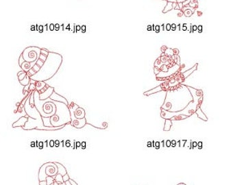 Redwork-Sunbonnets-and-Mice ( 10 Machine Embroidery Designs from ATW ) XYZ17E