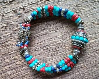 Tibetan Bead Bracelet, Layering Bracelet, Beaded Bracelet, Colorful Bracelet, Tibetan Style Bracelet,  Bohemian Jewelry,Boho Jewelry