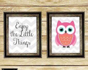 Enjoy the Little Things Pink Coral Owl Wall Art Nursery Girl's Room Decor Printable Set of 2 8x10 Digital JPG Instant Download (19)