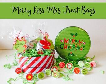 KIT Christmas Kiss Tags and bag, Merry Kiss-Mas Treat Bags and tags, Christmas Treat Bags and tags, Stocking Stuffers, Party Favors. Kids