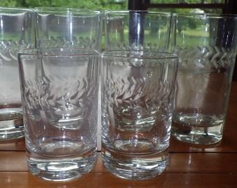 Cut glass Tumblers glasses juice glasses Laurel Leaf design 4 tumblers 2 juice