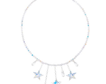 Wedding / prom Swarovski Crystal Shooting Star Necklace in Crystal