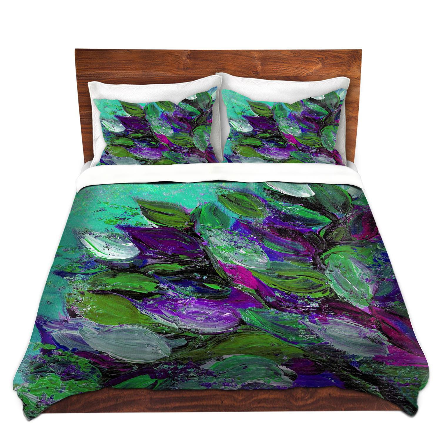 BLOOMING BEAUTIFUL Floral Art Duvet Covers King Queen Twin Size Mint  Seafoam Green Plum Purple Home Decor Bedding Garden Flowers Bedroom