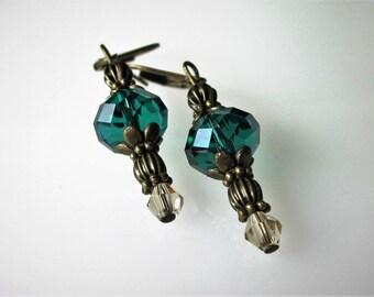 Swarovski Crystal Earrings, Dangle Earrings, Antiqued Brass Victorian, Winter Wedding, Bridesmaid Jewelry, Emerald Green, Vintage Inspired