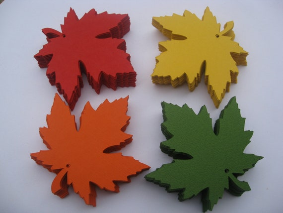 100 Maple Leaves, 5 inch. CHOOSE YOUR COLORS. Fall Mix. Escort, Wedding, Wishing Tree, Place Cards.