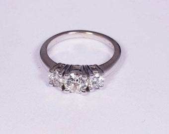 14K White Gold app. 1.4ct. tw. 3 Diamond Ring, size 6.5