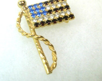 Vintage U.S. Flag Pin or Brooch - Red, White, Blue Rhinestones