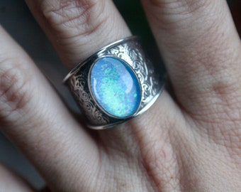 Ethiopian Fire Opal Ring, Sterling Silver Opal Ring, October Birthstone, 925, Size 9, Genuine Opal Ring, Fire Opal, Mothers Day Gift
