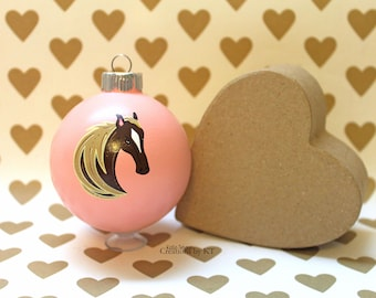 Brown Horse Christmas Ornament READY TO SHIP Pink Hand Painted Glass Bauble Horse Painting Horse Decor Horse Art Equestrian Gifts Art