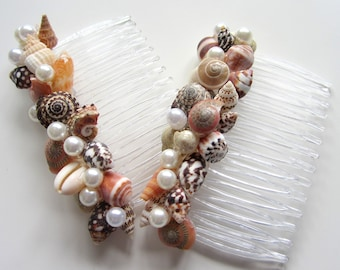 Seashell Hair Accessories, Nautical Beach Wedding Shell Hair Accessories, Beach Hair Combs, Shell Hair Combs,  #CSCOMB, #WSCOMB