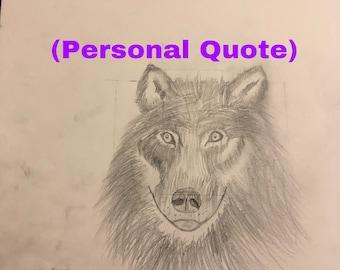Wolf tekening W / persoonlijke offerte