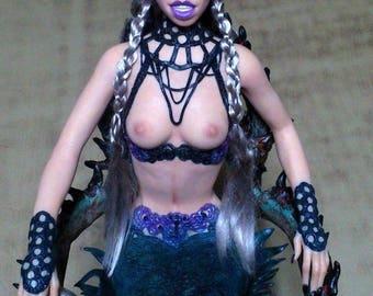 unique tattooed mermaid art doll ooak