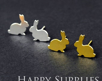 Nickel Free - High Quality Rabbit Head Dual-used Golden / Silver / Rose Gold Brass Earring Post Finding with Ear Studs Back Stopper (ZEN022)