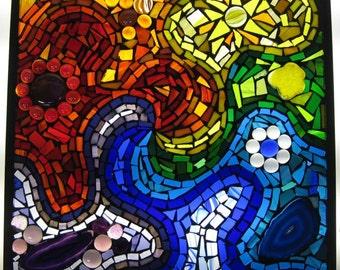 Rainbow swirl stained glass mosaic window