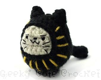 Black Daruma Neko Doll Plush Toy Amigurumi Cat