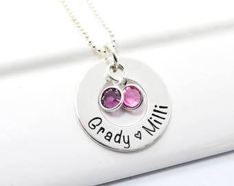 Personalized Mommy Necklace Circle Hand Stamped with Three Children's names and birthstones.