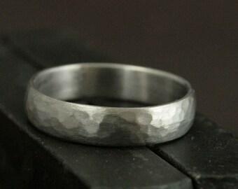 Men's Wedding Ring--14K White Gold Band--Perfect Hammered 5mm Wide Band--Hammered Wedding Band--Men's Wedding Band--Hammered Gold Ring