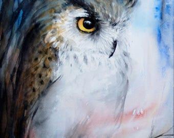 Original Watercolor Owl Painting Bird Painting Horned Owl
