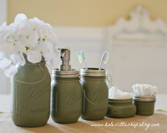 Mason Jar Bathroom Kit. Ball Mason Jars. Green. Rustic Home Decor. Farmhouse Bathroom Decor. Bathroom Soap Dispenser. Rustic.Wedding Gift.