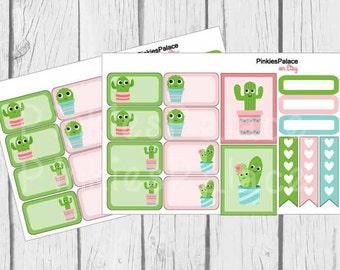 Planner Stickers Cactus Scrapbook Stickers Green Pink Full Box Half Box Flags Quarter Box eclp Fits Erin Condren PS446