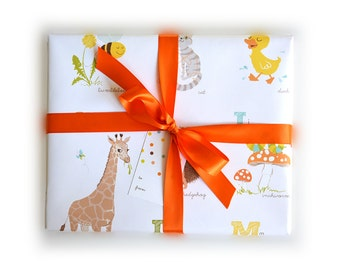 Birthday Wrapping Paper Sheets  - Alphabet ABC Animals Gift Wrap