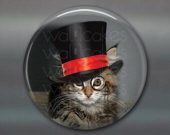 "3.5"" steampunk cat magnet, cat decor, steam punk decor, cat fridge magnet kitchen decor, large fridge magnet, housewarming gift  MA-1020"