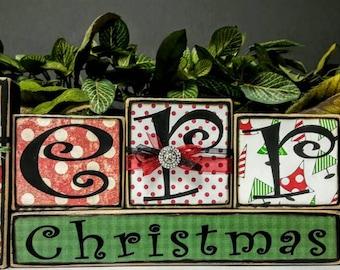 Merry Christmas Wood Blocks