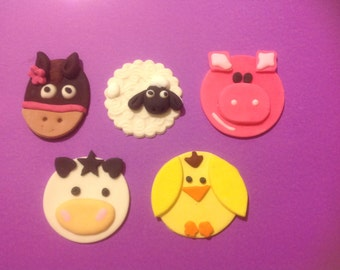 15 Fondant Farm animal cup cake toppers.