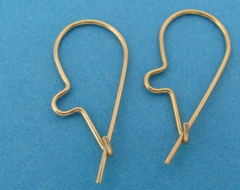 14k White Gold Kidney Hook Earwires - Pair