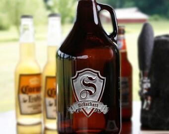 Beer Growlers, Custom Engraved Amber Beer Jug Bottle