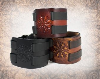 Helm of Awe - Leather Cuff, Leather Wristband, Leather Bracelet, Black Leather Cuff, Nordic Cuff - Custom to You (1 cuff only)