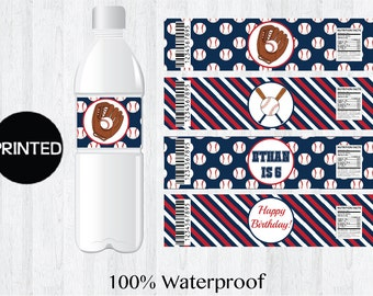 12 Printed Baseball Themed Boy's Birthday Water Bottle Labels Wrappers Party Supplies Personalized Custom Decoration