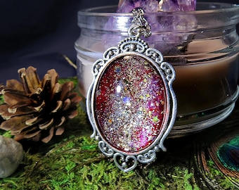 Mystical Night Red Gold Stars Silver Pendant Necklace