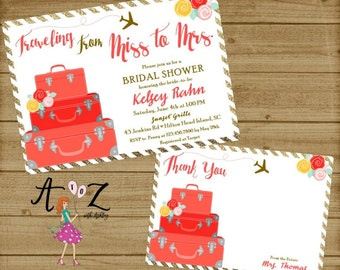 Travel Bridal Shower Invitation, Traveling from Miss to Mrs-Bridal Shower Invitation-Miss to Mrs Invitation-Printable-Miss to Mrs