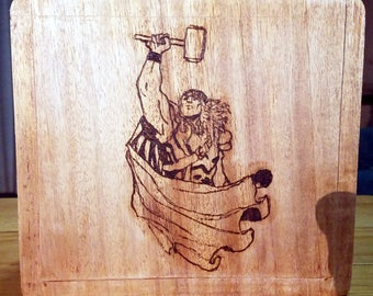 Pyrographed Upcycled Wood Cigar Box, One Image each on Front, Left side, and Right Side